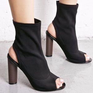 Black Peep Toe Open Back Bootie Heel